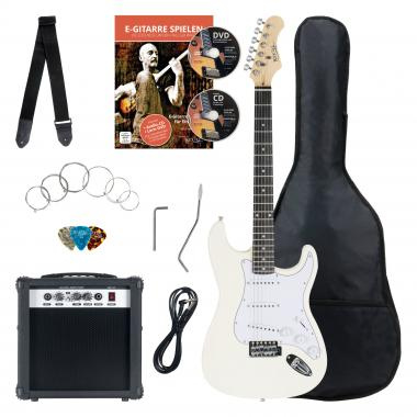 Rocktile Banger's Pack Electric Guitar Set, 7-Piece White