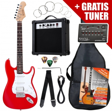 Rocktile ST PowerPack guitare électrique Red ampli, housse, accordeur, câble, sangle, cordes