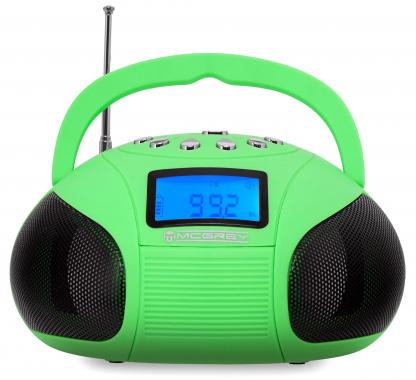 McGrey Boombox MC-50BT-GR Bluetooth Lautsprecher mit USB/SD Slots und FM-Radio, grün  - Retoure (Zustand: sehr gut)