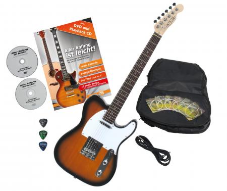 Rocktile Pro TL100-SB E-Gitarre 2-Tone Sunburst mit Zubehör