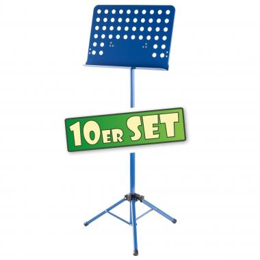 Ten-piece set: Deluxe Classic Cantabile Music Stand, perforated metal, heavy blue