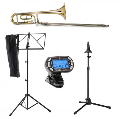 Classic Cantabile QP-42 Quart Trombone Ténor Lot incl. Metronome, Pupitres à Notes, Stand trombones