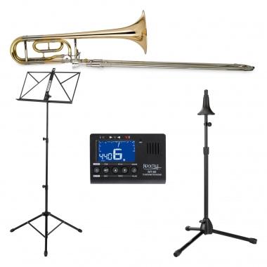 Classic Cantabile QP-42 Quart Trombone tenore Set incl. metronomo, leggio per spartiti e supporto