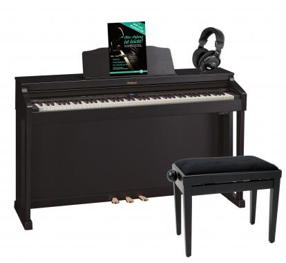 Digitalpiano Roland HP504 schwarz matt SET inkl. Pianobank, Kopfhörer und Klavierschule