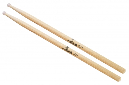 XDrum SD1N Hickory Drumsticks (1 Pair Length: 41.5 cm, Diameter: 1.2 cm, Nylon Tip)