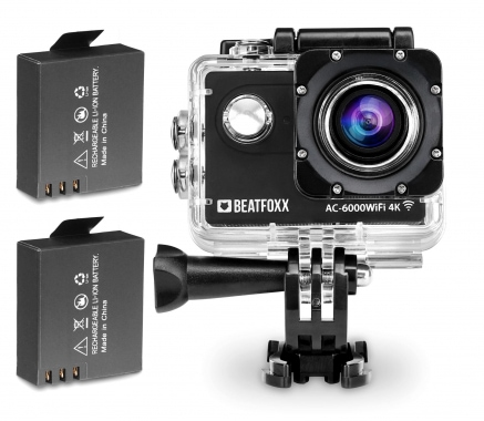Beatfoxx AC-6000WiFi 4K Action Camera 12 MP HDMI SD USB incl. 2 batterie