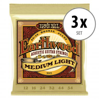 3er Set Ernie Ball 2003 Earthwood 80/20 Medium Light