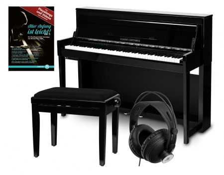 Classic Cantabile UP-1 SH piano électrique noir brillant set Deluxe
