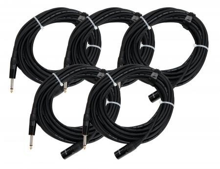 Set de 5 cables de audio Pronomic Stage JMXM-10 mono jack XLR 10 m en negro