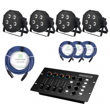 Showlite FLP-5x9W set de  4 x  incl. control DMX y cable
