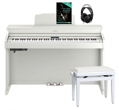 Roland HP603-WH Digitalpiano Weiß SET inkl. Pianobank, Kopfhörer und Schule