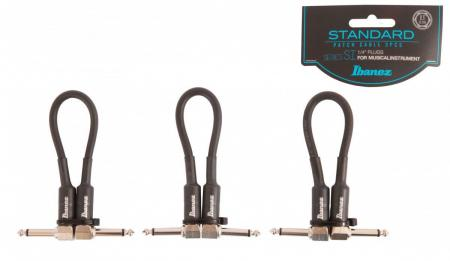 Ibanez SI05P3 Guitar Patch Cable 15cm Black - 3er Pack