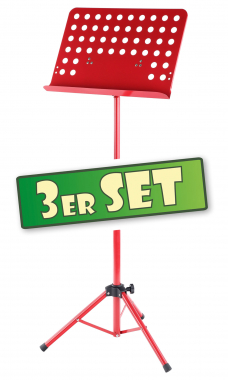 Three-piece set: Classic Cantabile Music Stand, perforated metal, heavy red