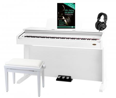 Classic Cantabile DP-210 WH digitale piano wit hoogglans SET inb. bank, koptelefoon