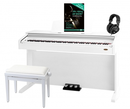 Classic Cantabile DP-210 WH digital piano glossy white set incl. bench, headphones