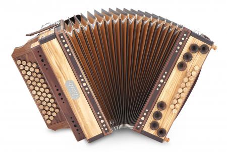 Loib Fisarmonika IVD Olive Sol-Do-Fa-Sib con H- e X-Bassi, copertura in legno