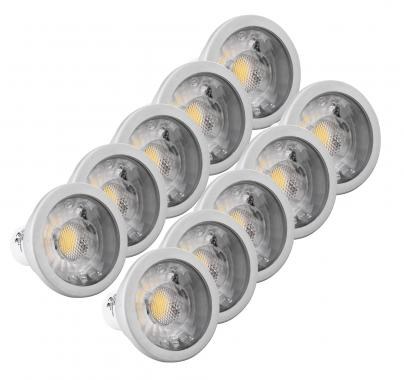 Set 4x Showlite LED Spot COB GU10W07K30D 7W, 550 Lumen, casquillo GU10, 3000 Kelvin, regulable inten