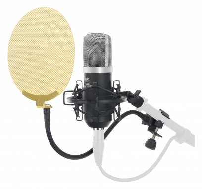 Pronomic CM-22S microphone à grande membrane SET incl. filtre anti pop en or