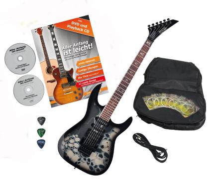 Rocktile per JK150F BSK-electric guitar with skull accessories