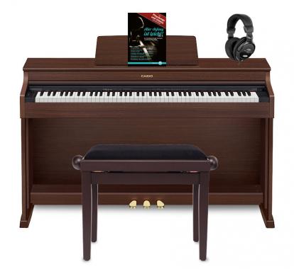 Casio Celviano AP-470 Digitalpiano, Braun Set inkl. Pianobank, Kopfhörer & Klavierschule