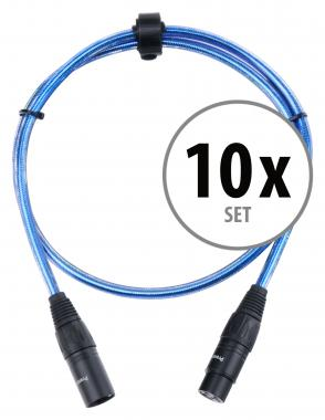 Pronomic Stage XFXM-Blue-1 Microphone Cable XLR 1m Metallic Blue 10x SET