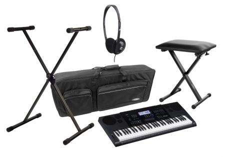 Casio CTK-6200 Keyboard-Deluxe-SET mit Ständer, Bank, Kopfhörer und Tasche