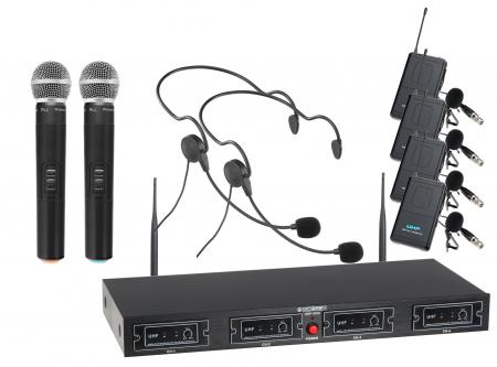McGrey UHF-2V2I2H Quad Funkmikrofon Set mit 2x Handmikrofon, 2 Headsets und Taschensender