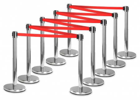 Stagecaptain PLS-200S Barricade Crowd Direction System – Silver 10-Piece SET
