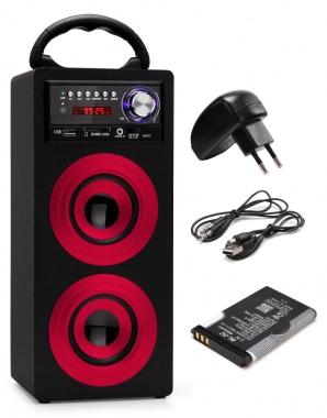 Beatfoxx Beachside portabler Bluetooth Lautsprecher USB, SD, AUX, UKW/MW Rot SET inkl. Akku + Netzteil
