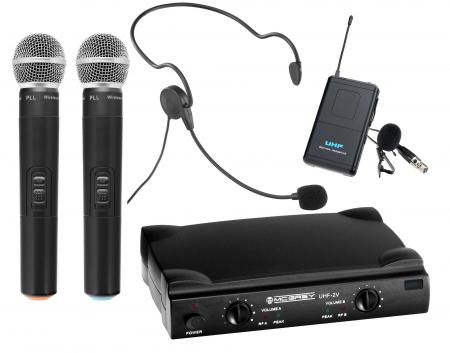 McGrey UHF-2V1H Dual Vocal Funkmikrofon Set mit 2x Handmikrofon, Taschensender und Headset