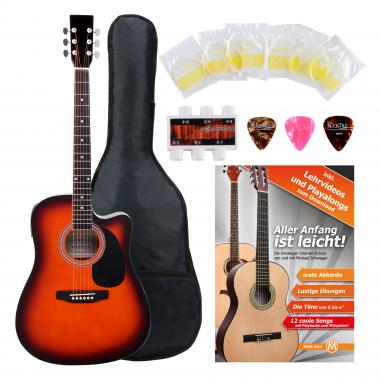 Classic Cantabile Acoustic Guitar With Pickups Starter Set incl. 5-piece Accessory Set – Sunburst