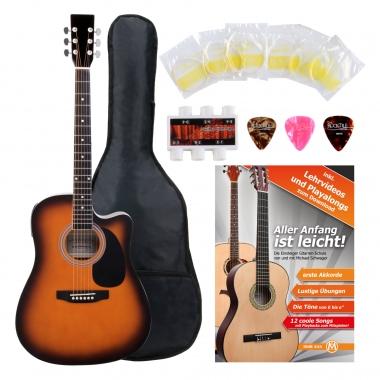 Classic Cantabile Acoustic Guitar With Pickups Starter Set incl. 5-piece Accessory Set –Sunburst