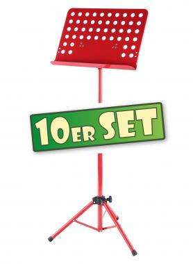 Ten-piece set: Deluxe Classic Cantabile Music Stand, perforated metal, heavy red