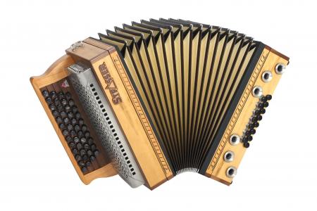 Strasser 4/III Hoamat Harmonika G-C-F-B mit X-Bass, Zirbe antik