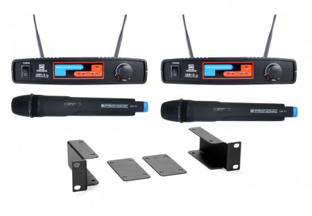 Pronomic UHF-11 dual vocal wireless microphone set ISM channel 7 and 8