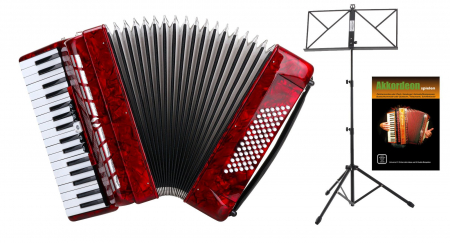"Classic Cantabile 72 bassen accordeon """"Secondo III"""" rood SET inb. notenstandaard"