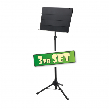 Set of 3 Classic Cantabile SM-100 Telescope Orchestra Stands Black