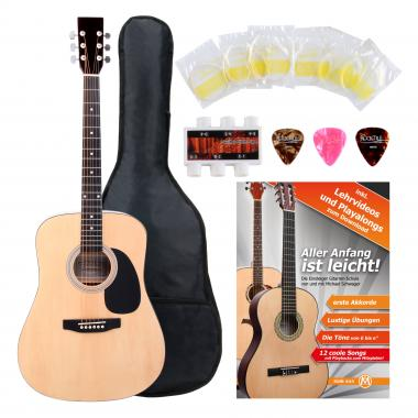 Classic Cantabile Acoustic Guitar Starter-SET incl. 5-piece accessory set, natural
