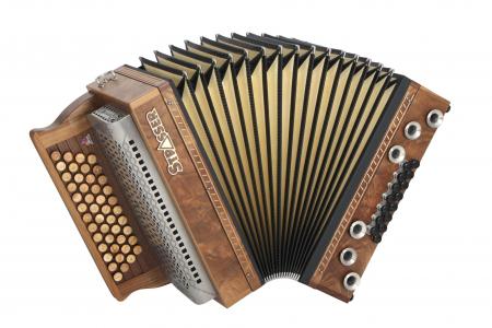 Strasser 4/III Hoamat Harmonika G-C-F-B mit X-Bass, Nussbaum Pyramide