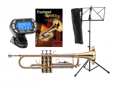 Classic Cantabile TR-40L Bb Trumpet SET with tuner/metronome, music stand