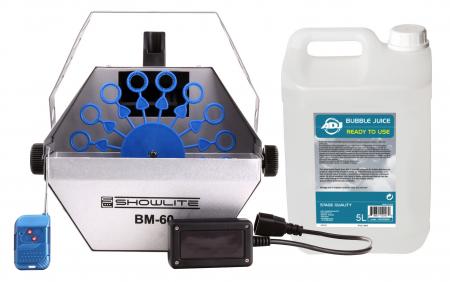 Showlite BM-60 Seifenblasen Set mit 5L Seifenblasenfluid