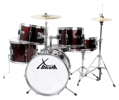 XDrum Session Junior Pro Drumset Kinderdrumstel (Donker Rood)