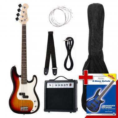 Kit basso elettrico nero, 6 pezzi -Rocktile Groovers Pack PB Sunburst