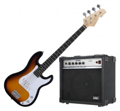 Rocktile Punsher basso elettrico (nero), incluso amplificatore Soundking sunburst