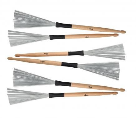 XDrum WTD-1S wire tap drumstick brushes short 3 pairs