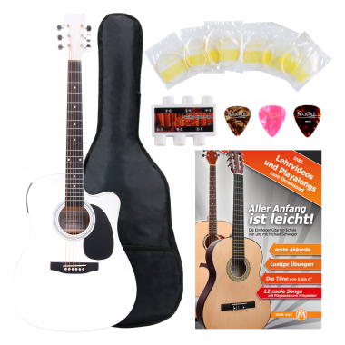 Classic Cantabile Western Guitar With Pickups Starter Set incl. 5-piece Accessory Set – White