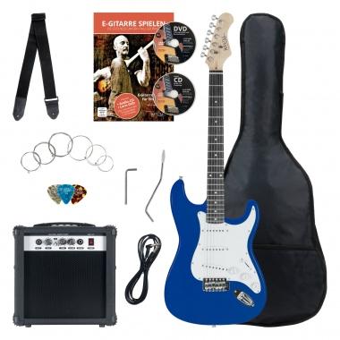 Pack Guitar Electrique Banger's Pack Set de Rocktile, 8 Pièces Bleu