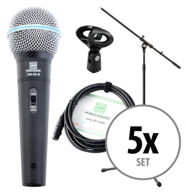 Pronomic DM-58-B Vocal Mikrofon Starter Set 5x Mikro, XLR Kabel, Klemme, Stativ