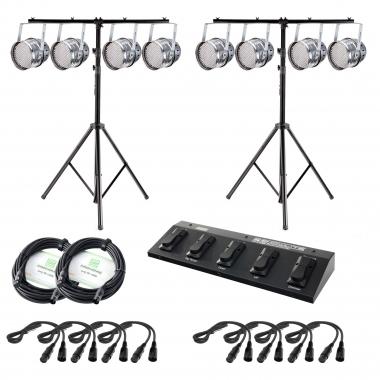 Showlite  PAR-64 LED, 10mm 8x Set + voetcontroller, 2 statieven, kabel en 8 schijnwerpers