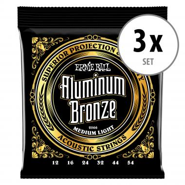 3er Set Ernie Ball 2566 Aluminum Bronze Medium Light